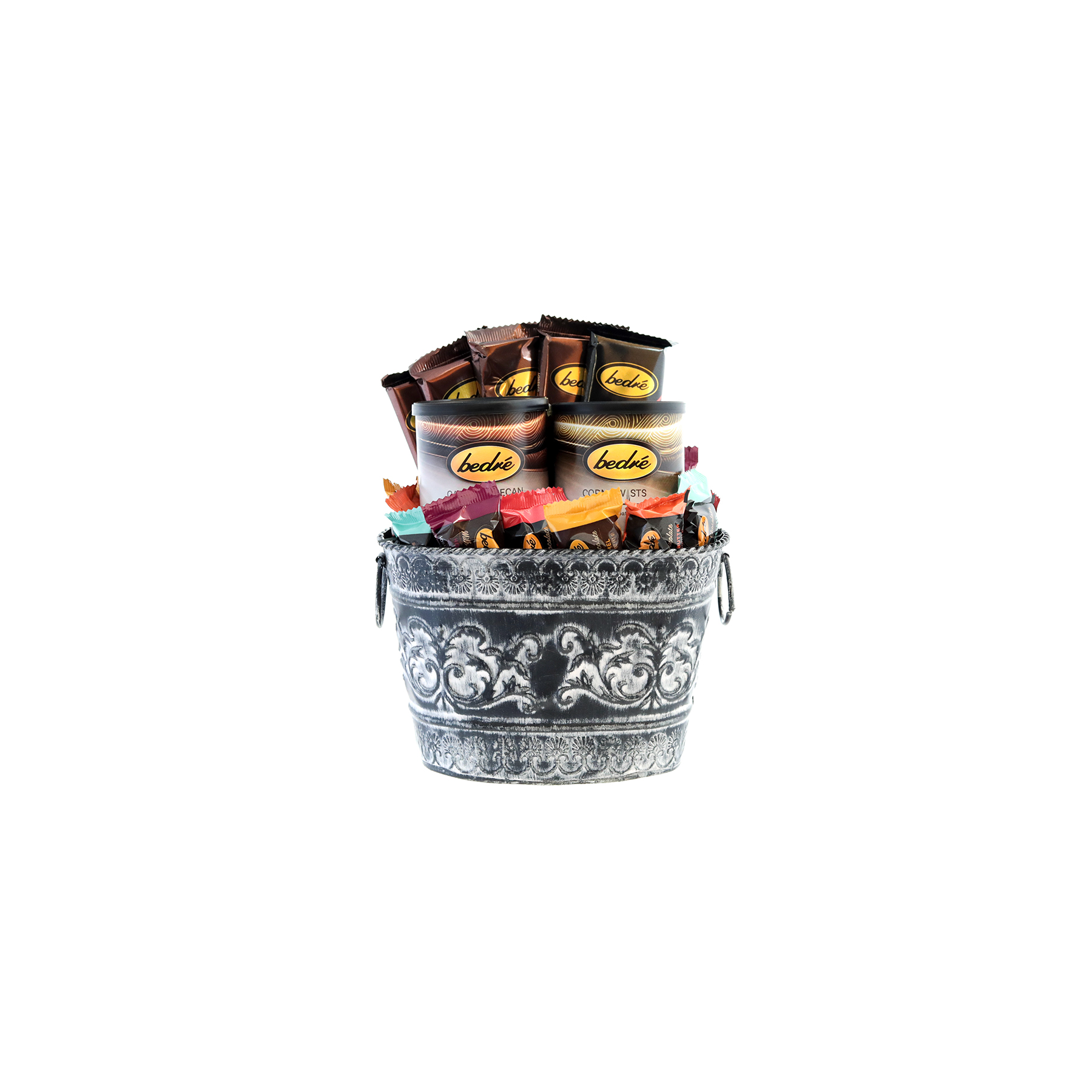 Small Mother's Day tin basket with assorted Bedre chocolates